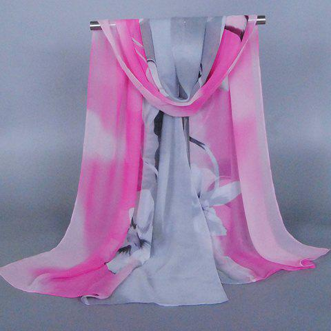 Chic Flower Pattern Two Color Match Women's Chiffon Scarf - GRAY