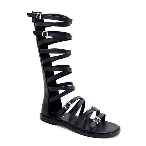 Stylish Cross Straps and Buckles Design Women's Sandals - BLACK 38