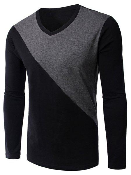 Men's Slim Fit Long Sleeves Color Block V-Neck T-Shirt - BLACK M