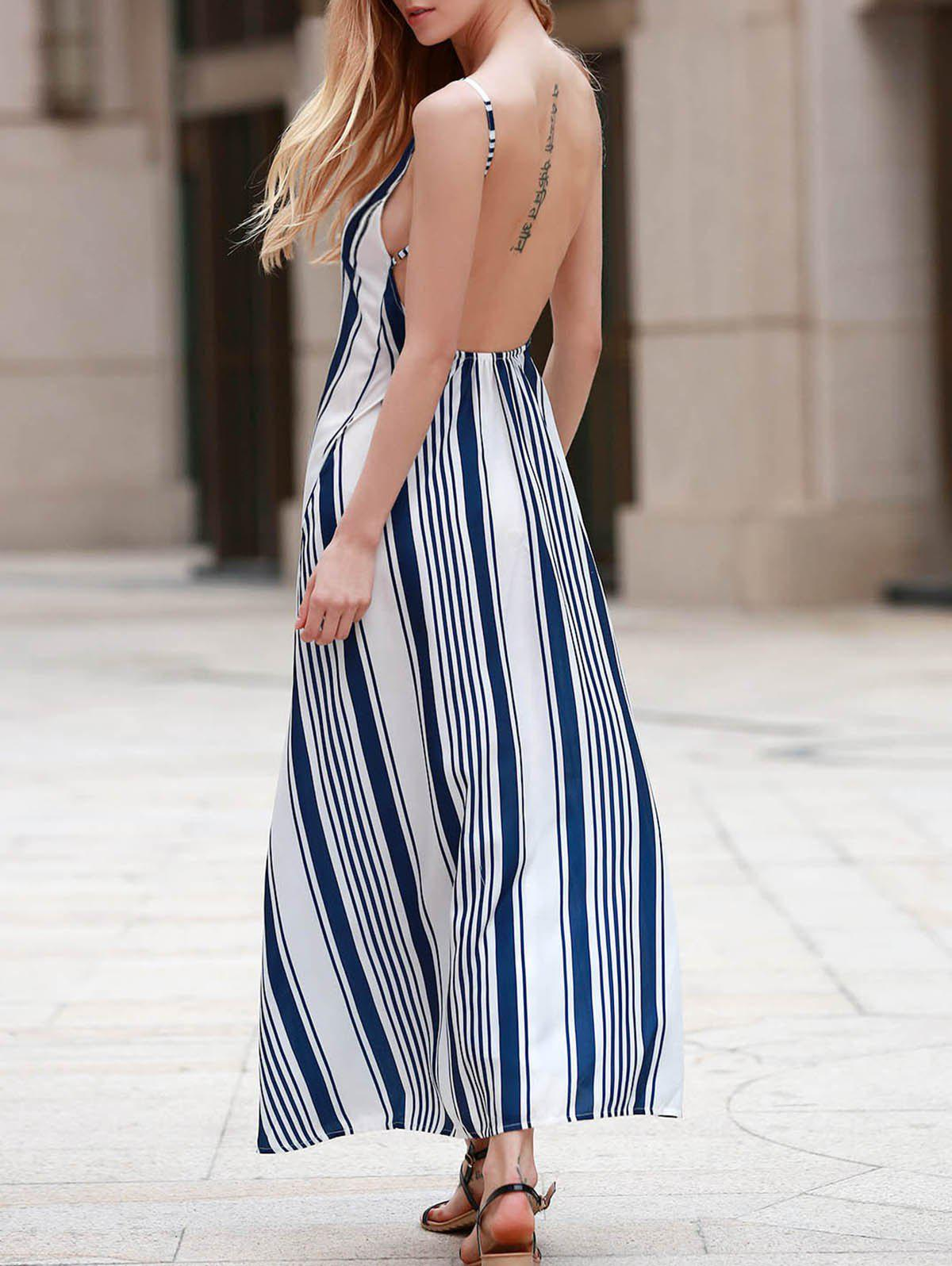 Sexy Women's Strappy Striped Open Back Maxi Dress - BLUE S