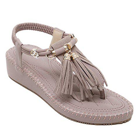 Leisure Solid Colour and Tassels Design Women's Sandals - LIGHT PURPLE 35