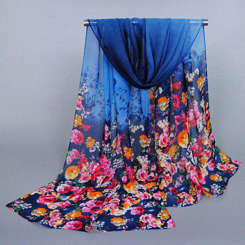 Chic Tiny Flowers Pattern Candy Color Chiffon Scarf For Women - DEEP BLUE