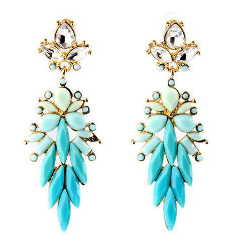 Pair of Water Drop Faux Crystal Earrings - BLUE