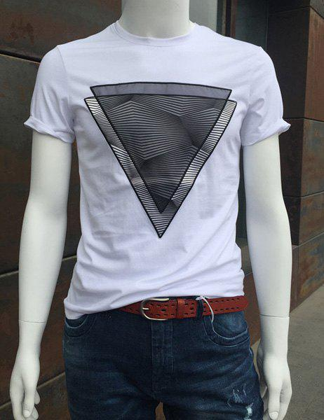Triangle Print Round Neck Short Sleeve Men's T-Shirt - WHITE 2XL