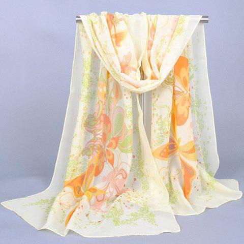 Chic Butterfly and Flower Doodle Pattern Women's Chiffon Scarf - BEIGE