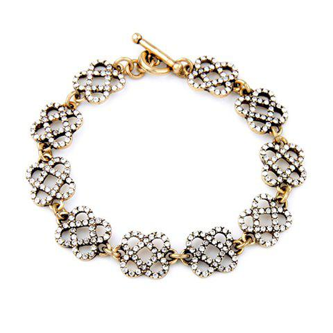 Gorgeous Rhinestone Floral Hollow Out Bracelet For Women - GOLDEN