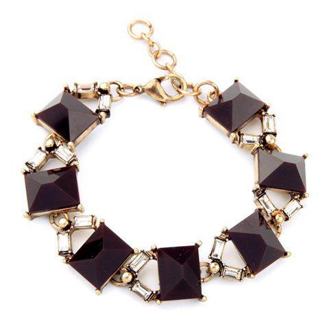 Trendy Square Faux Gemstone Bracelet For Women