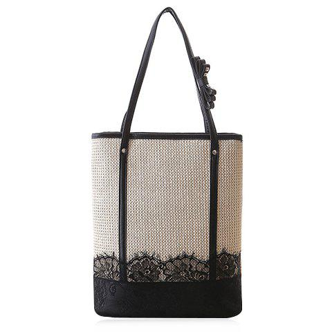 Sweet Lace and Straw Design Women's Shoulder Bag - OFF WHITE