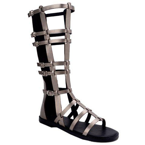 Fashion Hollow Out and PU Leather Design Sandals For Women - GRAY 40