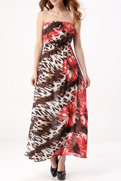 Bohemian Style Women's Strapless Floral Print Maxi Dress - RED XL
