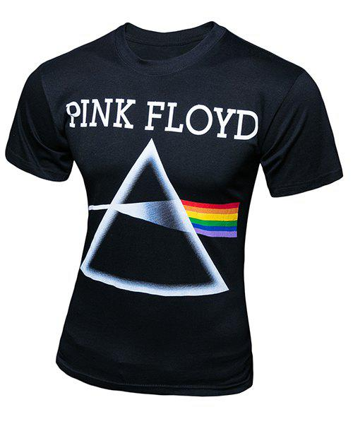 3D Triangle and Rainbow Print Round Neck Short Sleeve Slimming Men's T-Shirt