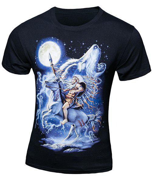Casual Pullover Horse Wolf Printing Short Sleeves T-Shirt For Men - BLACK L