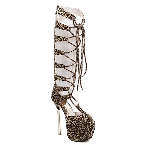 Stylish Platform and Leopard Printed Design Women's Sandals - LIGHT BROWN 36