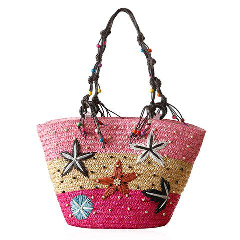 Bohemian Color Block and Embroidery Design Shoulder Bag For Women