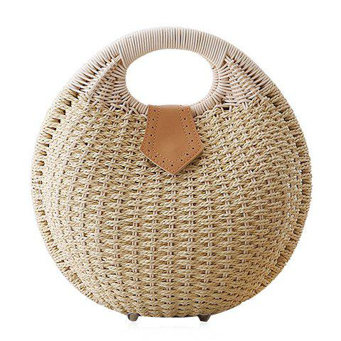 Cute Weaving and Round Shape Design Women's Tote Bag - OFF WHITE