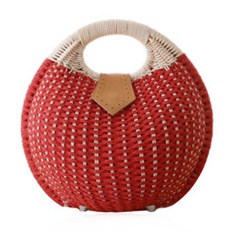 Cute Weaving and Round Shape Design Women's Tote Bag - RED