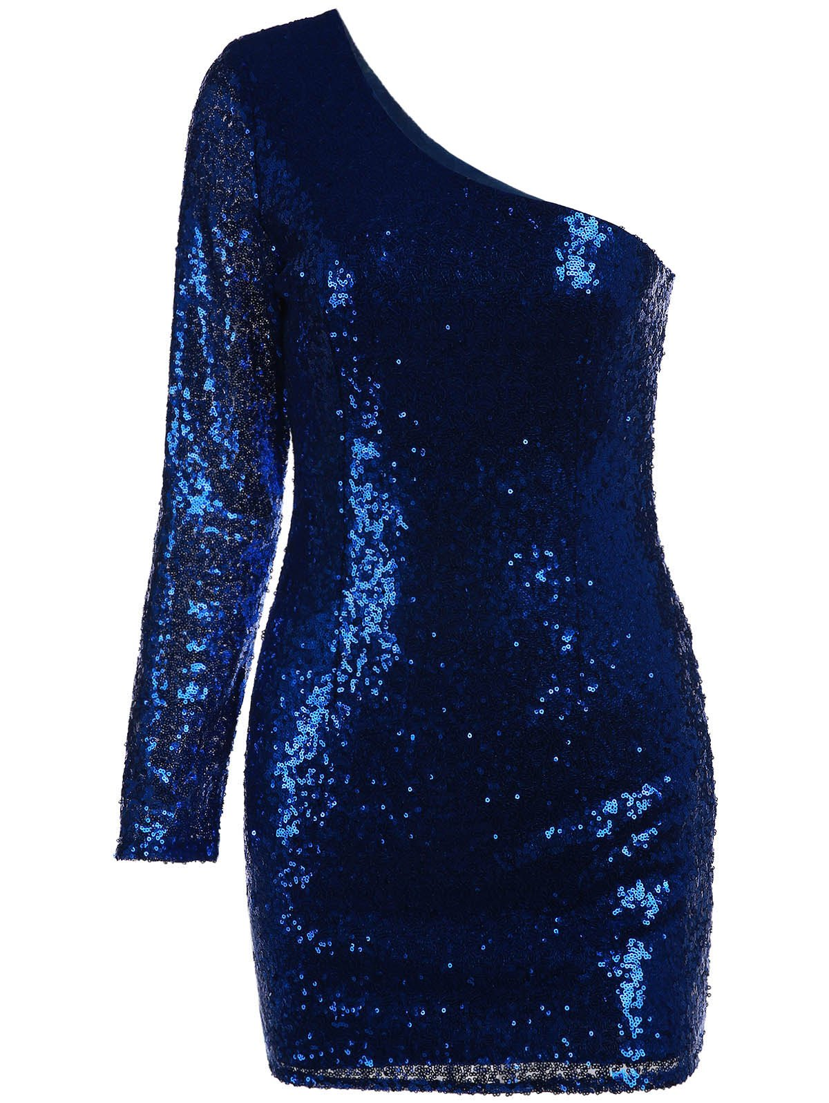 Chic Women's One Shoulder Sequined Long Sleeve Dress - DEEP BLUE M