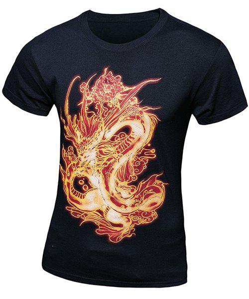 Casual Pullover Fiery Dragon Printing Short Sleeves T-Shirt For Men - BLACK M