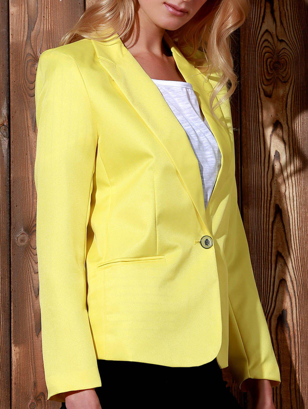 Fashionable Lapel Long Sleeve Solid Color Women's Blazer - YELLOW XS