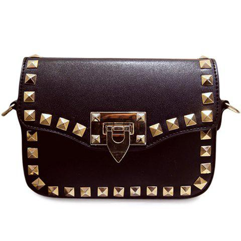 Trendy Rivets and Black Colour Design Women's Crossbody Bag - BLACK