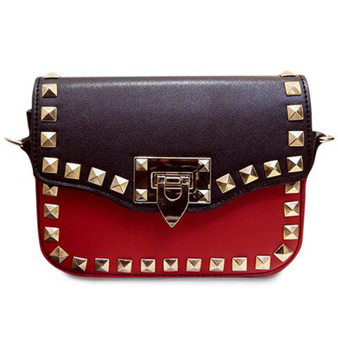 Fashionable Colour Block and Rivets Design Women's Crossbody Bag -  RED/BLACK