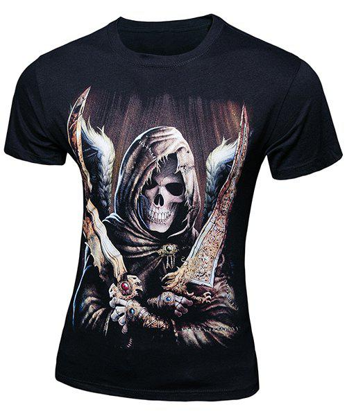 Casual Pullover Skull Printing Short Sleeves T-Shirt For Men - BLACK L