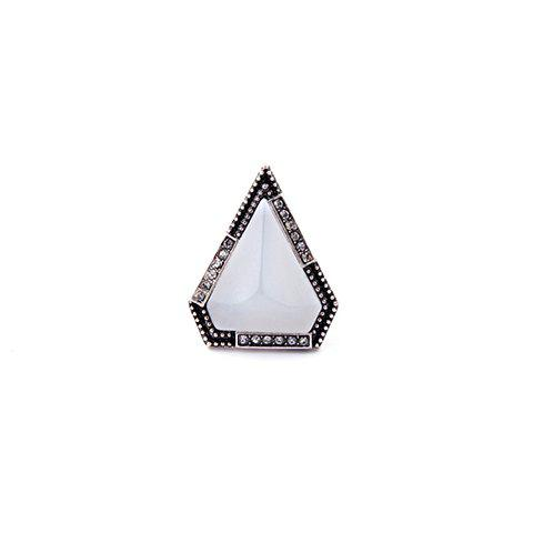 Triangle Faux Gem Ring - WHITE ONE-SIZE