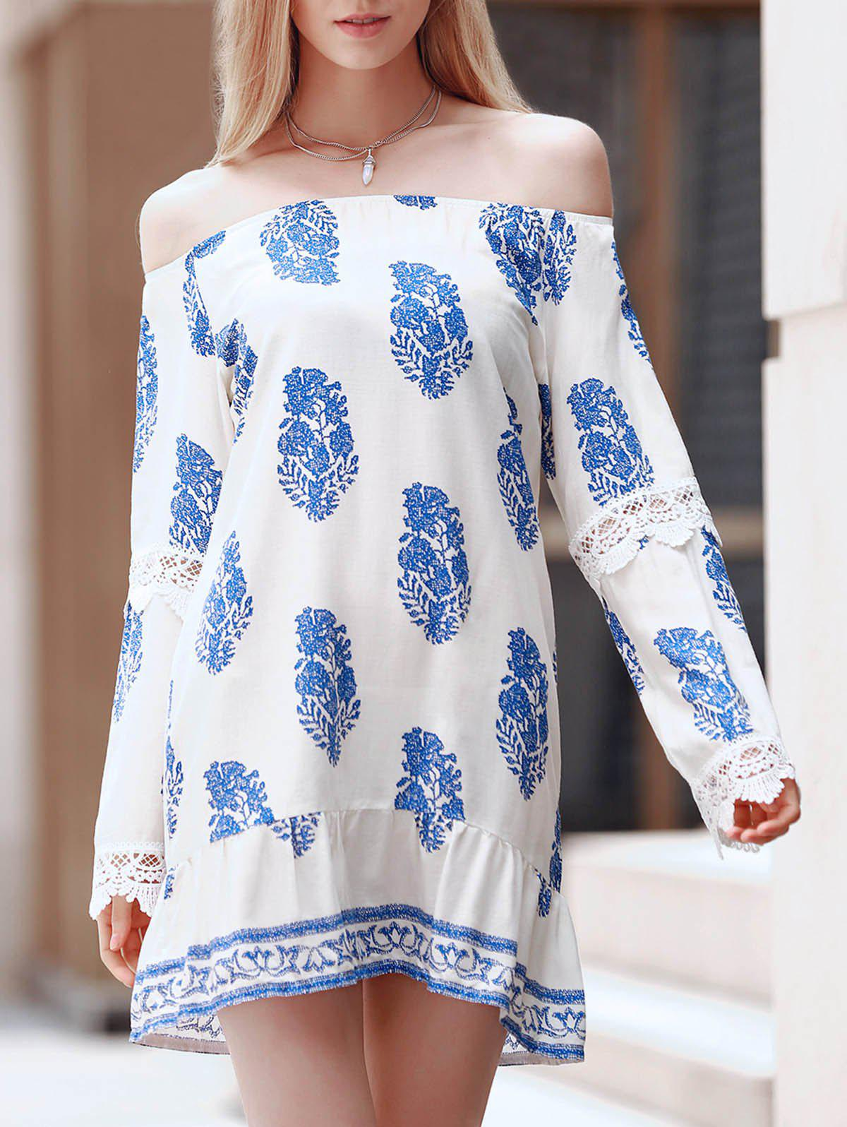 Brief Women's Off The Shoulder Leaves Print Long Sleeve Dress - BLUE/WHITE S