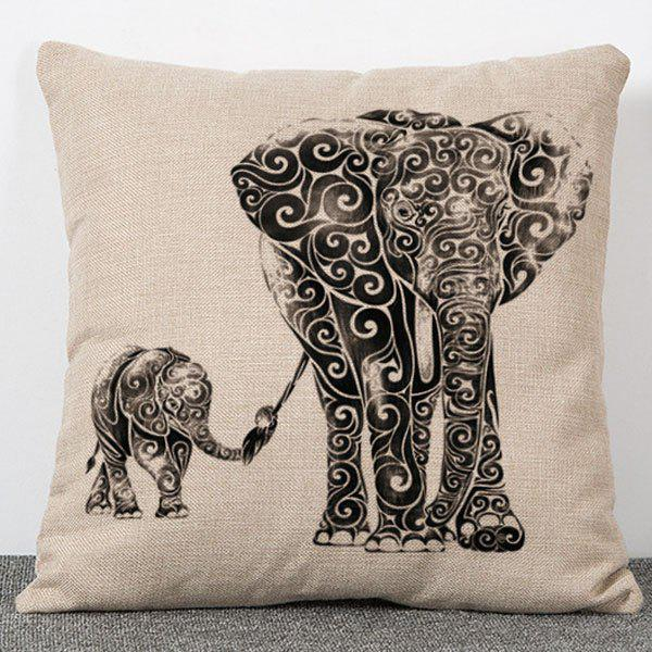 Fashionable Elephant Pattern Flax Pillow Case (Without Pillow Inner)