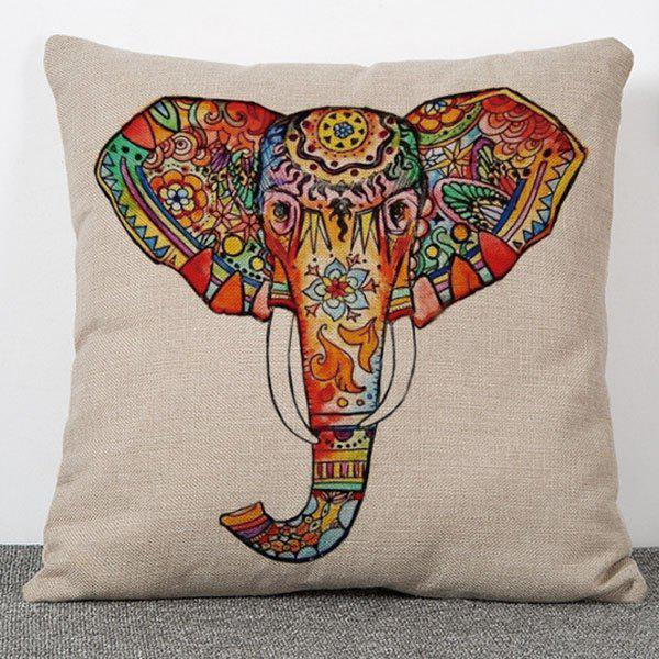 Hot Sale Colorful Elephant Pattern Flax Pillow Case(Without Pillow Inner)