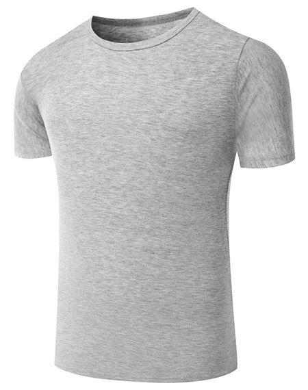 Simple Round Neck Pure Color Short Sleeve Men's T-Shirt - GRAY M