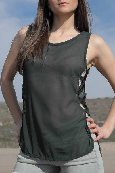 Stylish Sleeveless Scoop Neck Womens Chiffon Tank TopWomen<br><br><br>Size: S<br>Color: ARMY GREEN
