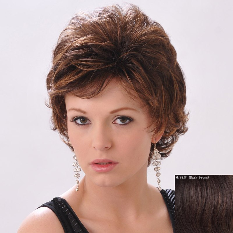 Shaggy Curly Human Hair Side Bang Short Wig For Women heavy density loose curly hair wig side