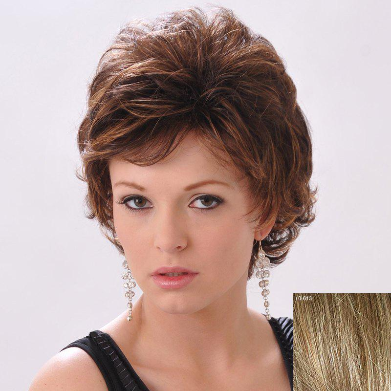 Shaggy Curly Human Hair Side Bang Short Wig For Women - LIGHT CHOCOLATE