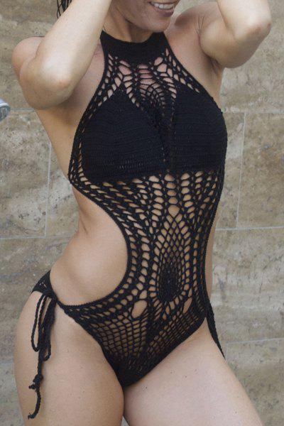 Sexy Halter Knitted Hollow Out One-Piece Swimsuit For Women - BLACK S