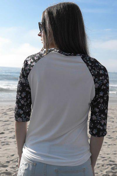 Chic Scoop Collar 3/4 Sleeve Floral Print Spliced Women's T-Shirt - WHITE S