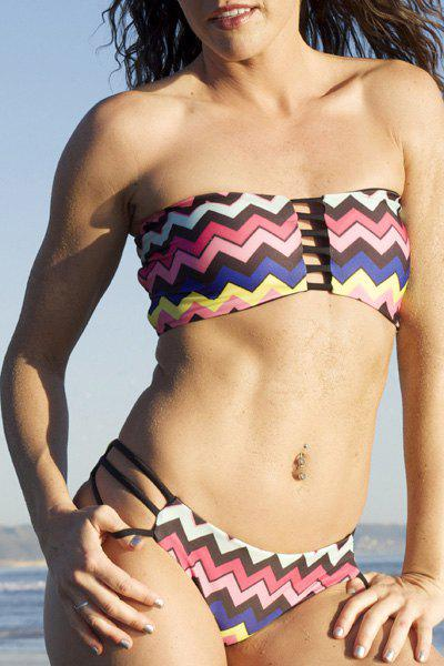 Stylish Women's Strapless Colored Zig Zag Printed Bikini Set - COLORMIX S