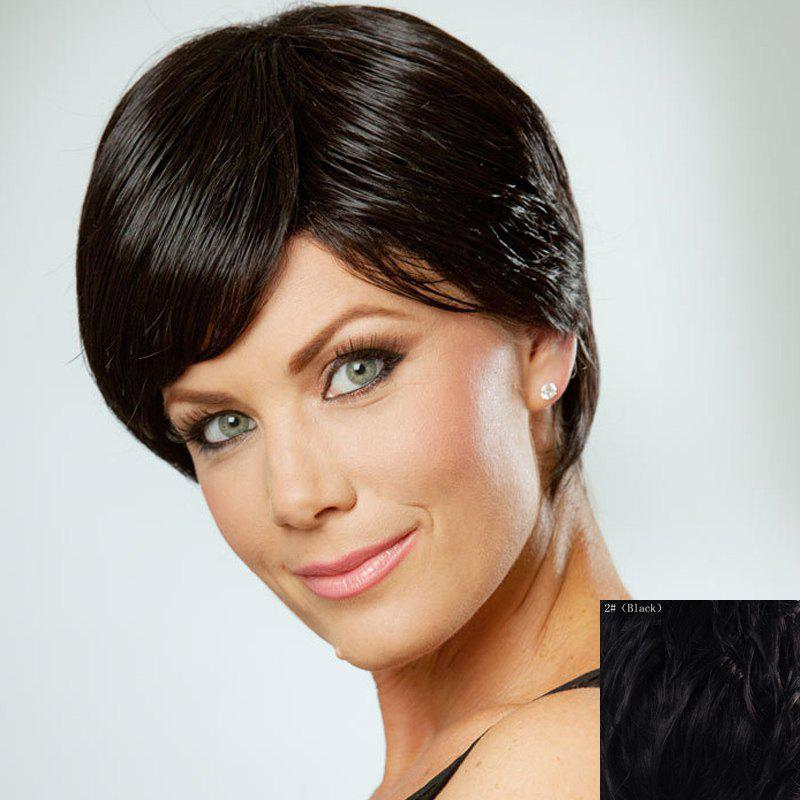 Shaggy Straight Human Hair Side Bang Short Wig For Women - BLACK