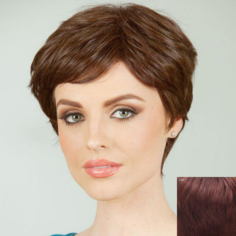 Shaggy Side Bang Short Curly Human Hair Wig For Women - DARK AUBURN BROWN
