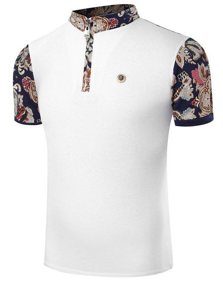 Hot Sale Stand Collar Floral Print Zipper Design Short Sleeve Men's T-Shirt