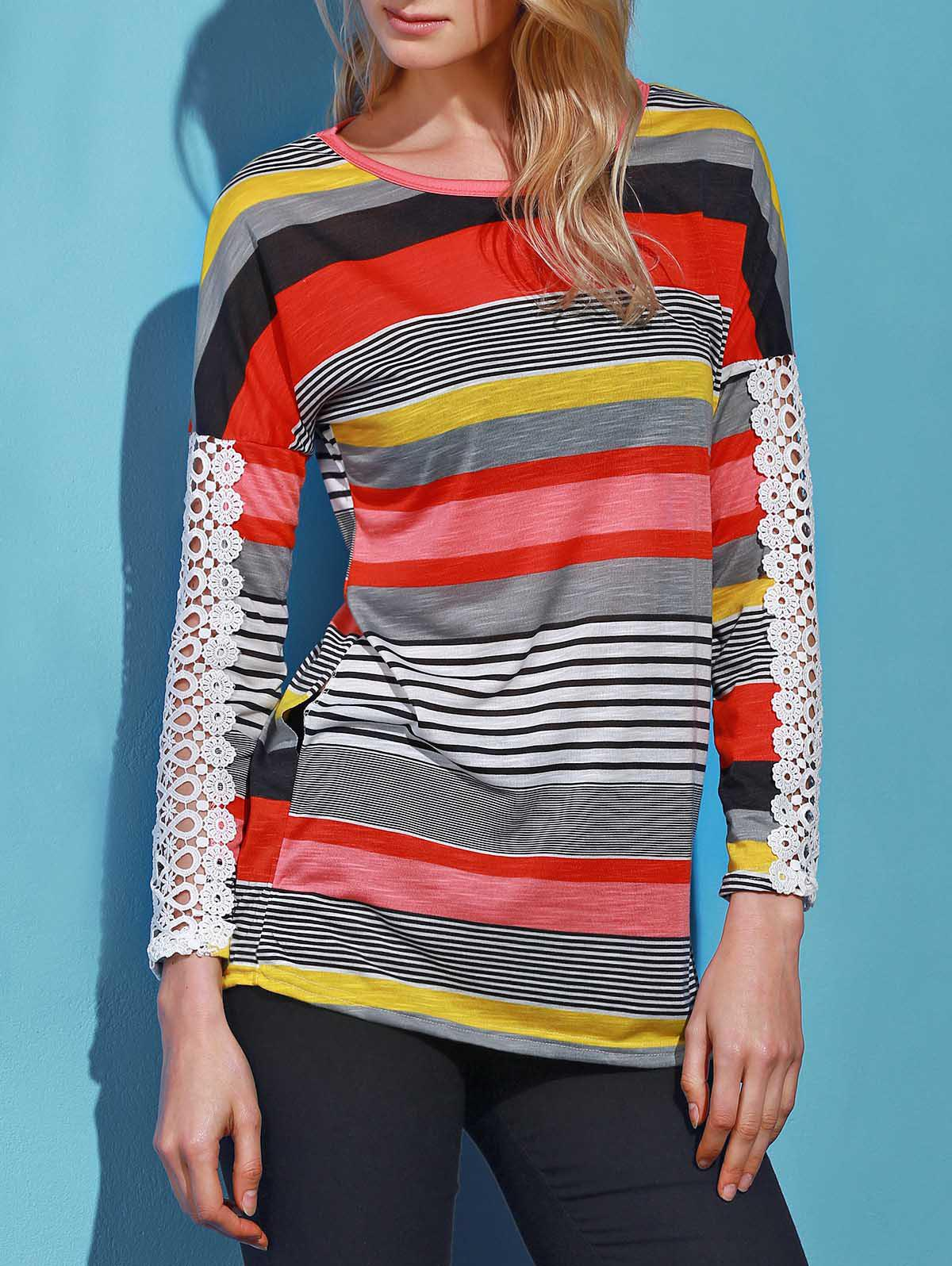 Trendy Colorful Striped Lace Spliced Long Sleeve T-Shirt For Women - ORANGE S