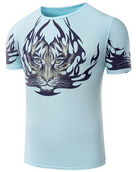 Hot Sale Round Neck Tiger Pattern Print Short Sleeve Men's T-Shirt - LIGHT GREEN XL