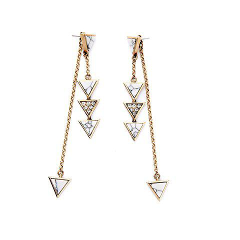 Pair of Vintage Rhinestone Triangle Drop Earrings For Women
