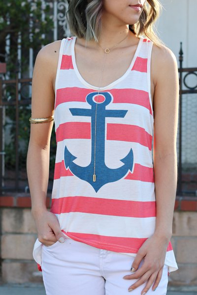 Stylish Scoop Collar Sleeveless Anchor Print Striped Women's Tank Top - RED S