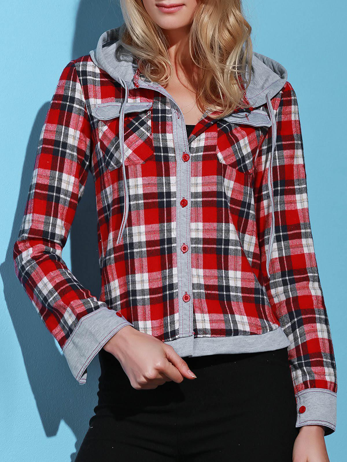 Stylish Hooded Long Sleeve Single-Breasted Gingham Women's Blouse - RED M