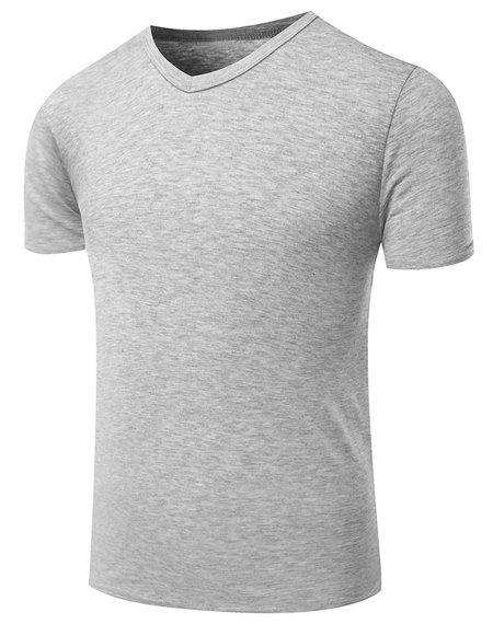 Hot Sale V-Neck Pure Color Short Sleeve Men's T-Shirt - GRAY M