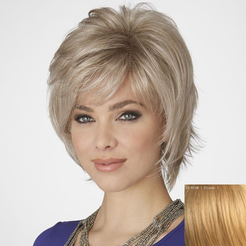 Fluffy Short Inclined Bang Human Hair Wig For Women - BLONDE