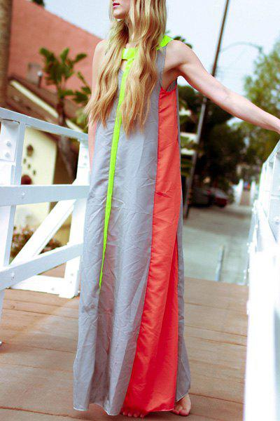 Fashionable Scoop Neck Color Block Hollow Out Sleeveless Women's Maxi Dress - GRAY M