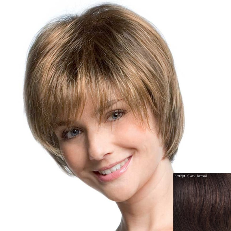 Women's Fluffy Short Inclined Bang Human Hair Wig - DARK BROWN