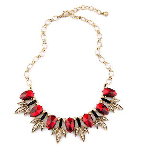 Rhinestone Faux Ruby Leaf Necklace - RED